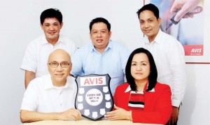 U.S. PRINCIPAL CITES AVIS PHILIPPINES – Avis Philippines was recently named by Avis Car Rental in New Jersey as Licensee of the Year for the Asia Pacific region. Holding the plaque of recognition are (from left, seated): Rafael V. Lucila, Jr. president and CEO and Arlene Espiritu, chief of operations. Standing from left: Antonio B. Balboa, group manager Rent A Car, Artel Sebastian, national sales and marketing manager, Benjamin S. Abad, group manager hotel operations.