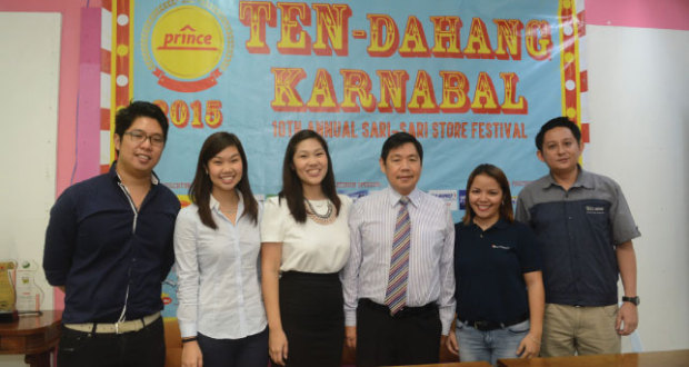 Decade-old tradition. Prince Hypermart officials announced that this year's Sari-Sari Store Festival, which is on its 10th year, will have a carnival theme for their loyal customers. Shown in the photo are (from left) Prince Hypermart business development manager John Robertson Go, finance officer Rissa Julene Go, supply chain manager Rina Janine Go, president and CEO Robert Go, Nestle Philippines account manager Biana Lago and Nestle Philippines area sales manager Francis Ian Sy.  (Sun.Star Photo/Allan Defensor)