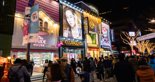 Myeongdong Market in Seoul South Korea.