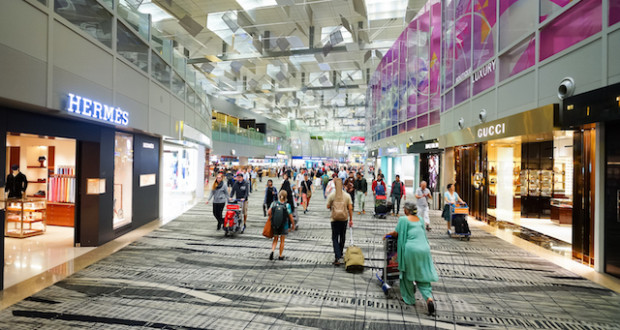 SINGAPORE - NOVEMBER 09, 2015: interior of Changi Airport. Singapore Changi Airport, is the primary