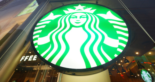 SHENZHEN, CHINA - FEBRUARY 05, 2016: facade of Starbucks Cafe. Starbucks Corporation is an American