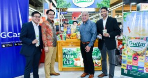 From L-R:  Calvin Chua, Fruitas Holdings Chief Financial Adviser;  Lester Yu, Fruitas Holdings Founder and CEO; Ernest Cu, Globe Telecom President and CEO; and Anthony Thomas, Mynt President and CEO (Photo from: Manila Bulletin)